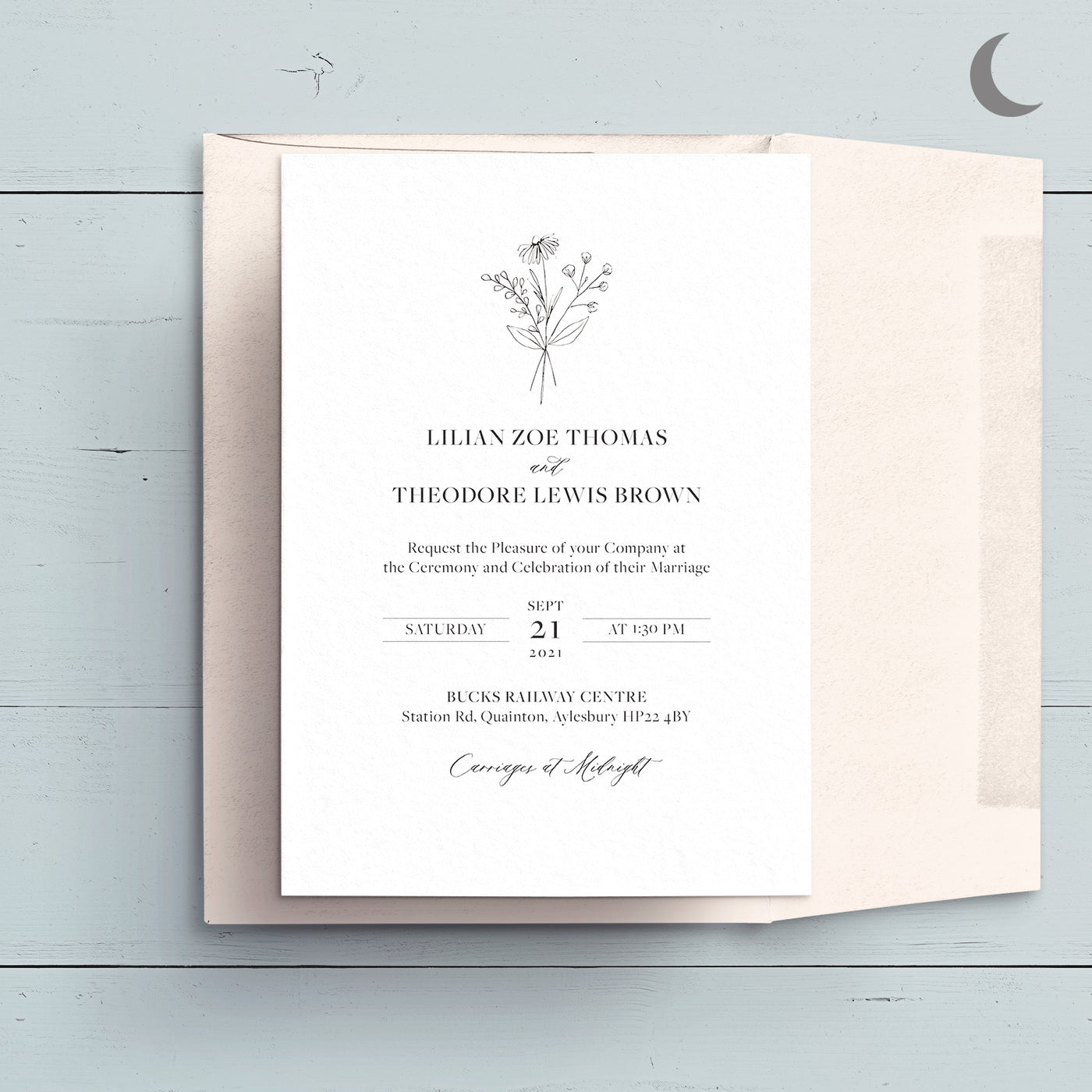 Modern Botanicals Reception Invite