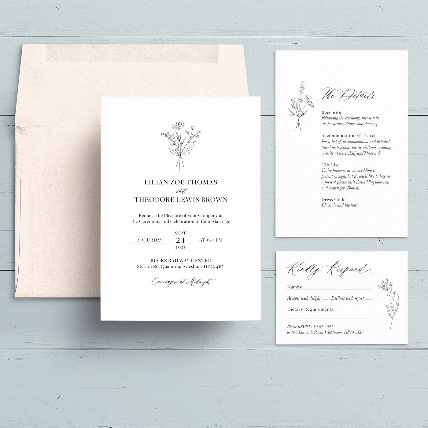 Modern Botanicals Wedding Invite