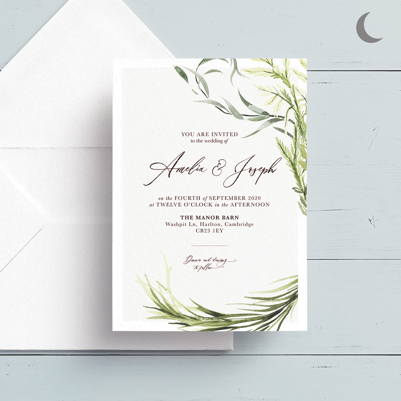 Simply Foliage Reception Invite