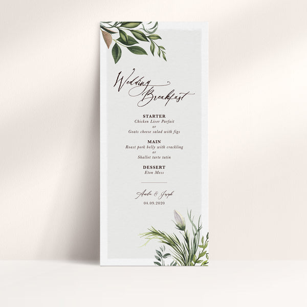 Simply Foliage Menu