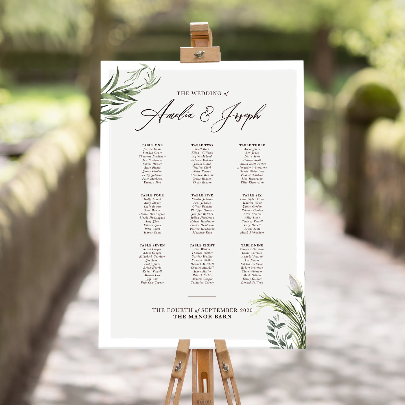 Simply Foliage Table Plan