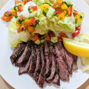 Lemon Thyme Steak with Turkish Salad