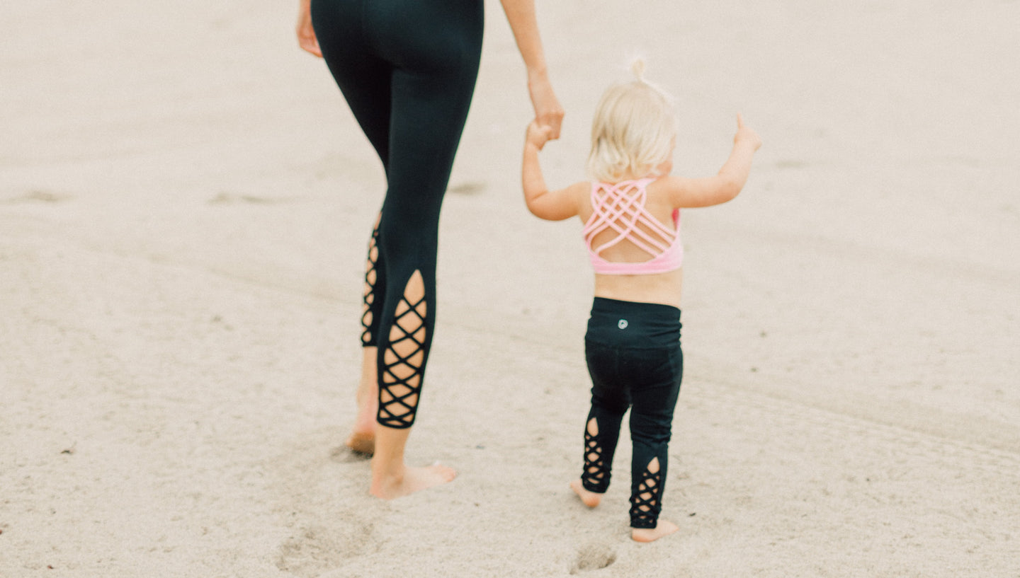 Cute mommy and me lace up leggings yoga pants - sweat and Milk