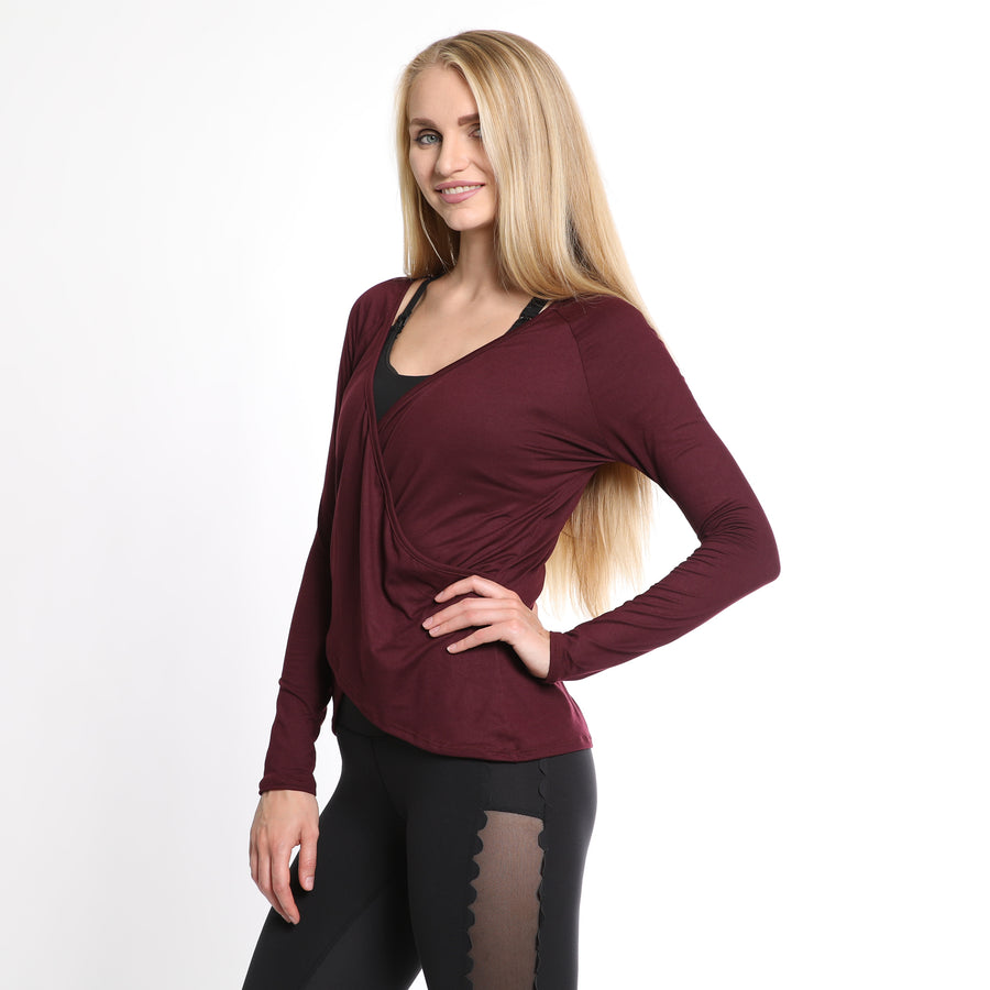 Charlotte nursing top, burgundy, Versatile, reversible, can be worn Front and Back, great for nursing and beyond, buttery soft