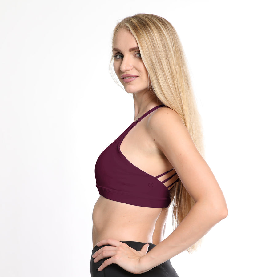 Océane 3, Nursing sports Bra, hands free pumping, burgundy nursing bra, strappy back, stylish, adjustable back closure, comfy