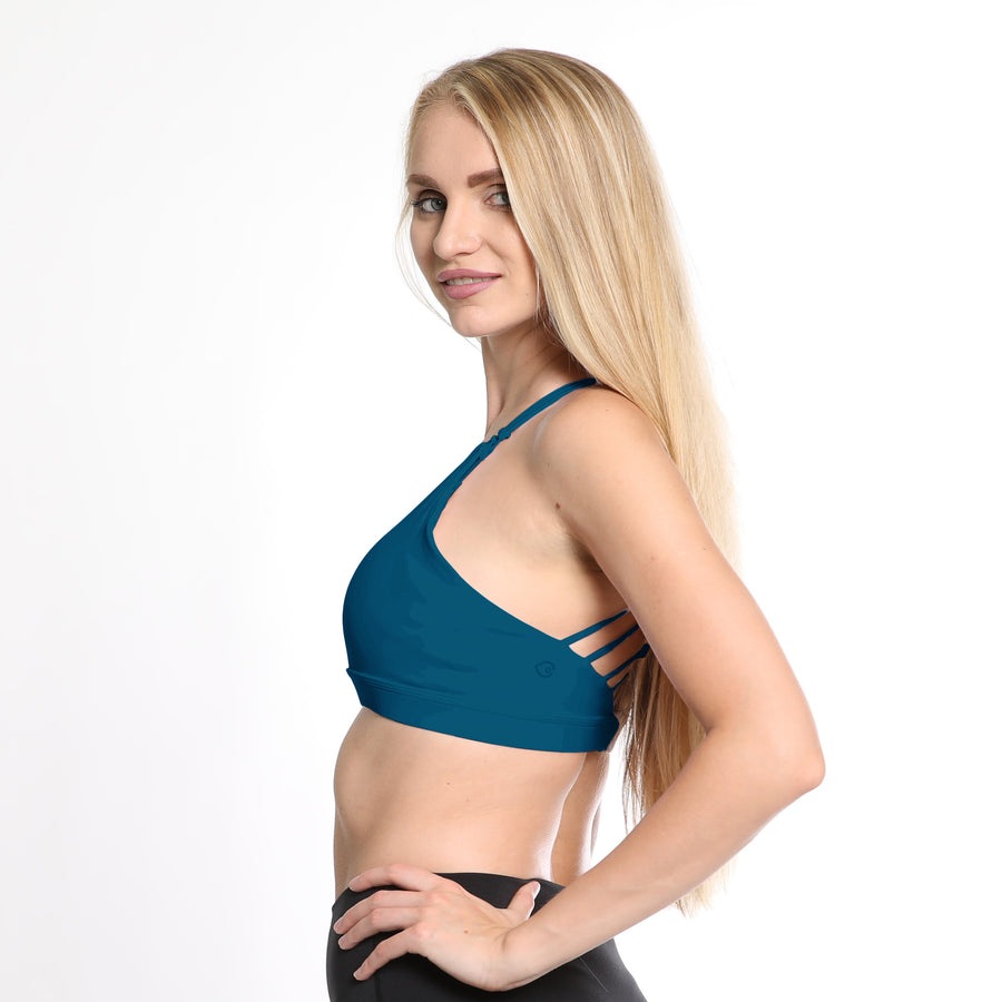 Océane 3 Nursing sports Bra, hands free pumping, peacock, strappy back, adjustable, supportive, sweat and milk