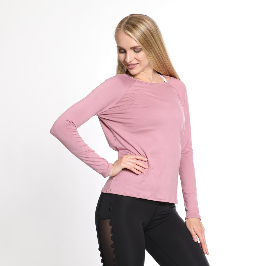 Charlotte nursing top, pink, Versatile, reversible, can be worn Front and Back, long sleeve, great for nursing and beyond, buttery soft