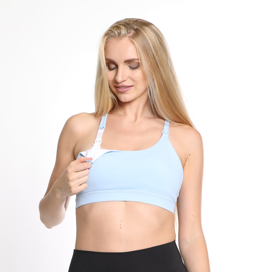 Océane 3, Nursing sports Bra, hands free pumping, azure, light blue, strappy back, stylish, adjustable back closure