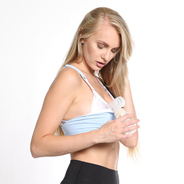 Océane 3 - Yoga Nursing and Hands Free Pumping Sports Bra (Azure) - Sweat and Milk LLC