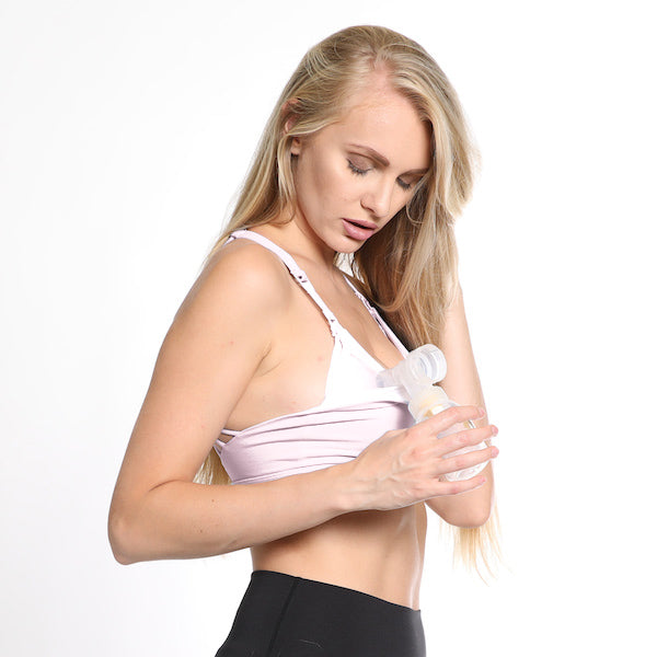 Océane 3 Nursing sports Bra, clip down nursing, high impact nursing sports bra, nursing sports bra for big chested women, hands free pumping, blush, strappy back, stylish, adjustable, comfy