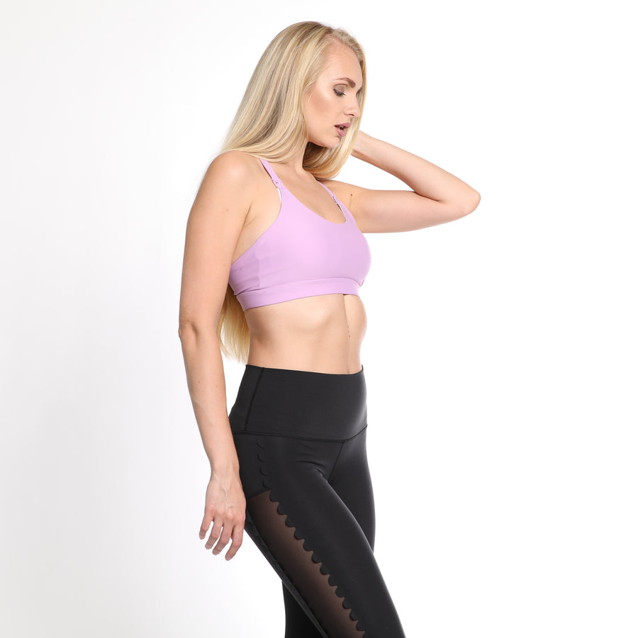 Océane 3 - Yoga Nursing Sports Bra (Lilac) - Sweat and Milk LLC