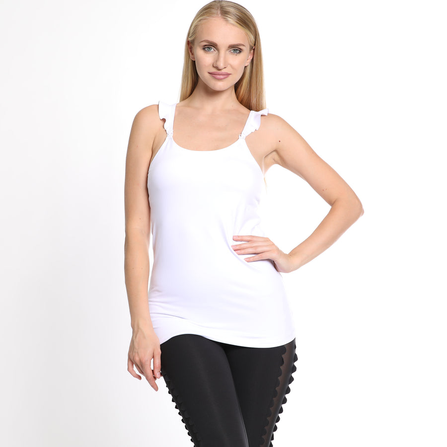 Madison Ruffle Maternity and Nursing Sports Tank Bra (Blanc) - Sweat and Milk LLC