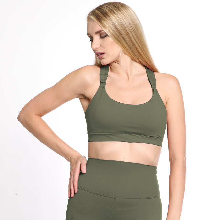 Chloe 3 Running Nursing Sports Bra, strappy back, supportive, high impact, olive - Sweat and Milk