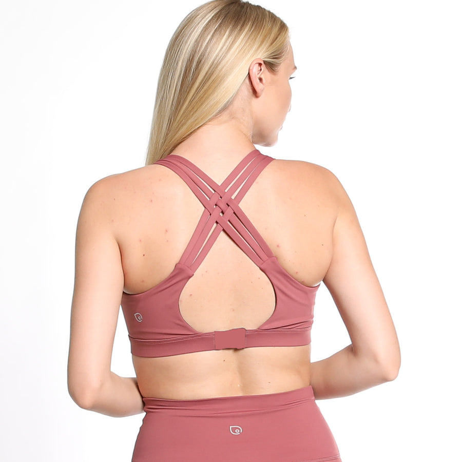 Chloe 2 Running Nursing Sports Bra, mauve, pink, strappy back, supportive, mid high impact, mid high coverage, adjustable back closure