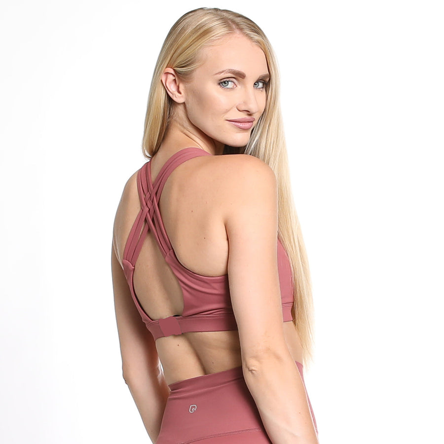 Chloe 2 Running Nursing Sports Bra, mauve, pink, strappy back, supportive, mid high impact, mid high coverage