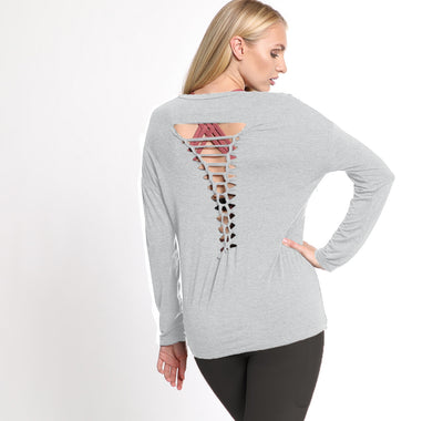 Exhale Braided Back Long Sleeve Maternity & Nursing Top (Light Gray)