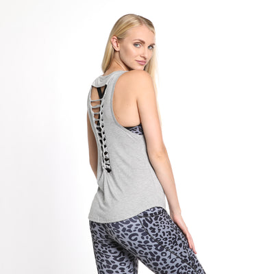 Exhale Braided Back Nursing Tank (Light Gray)