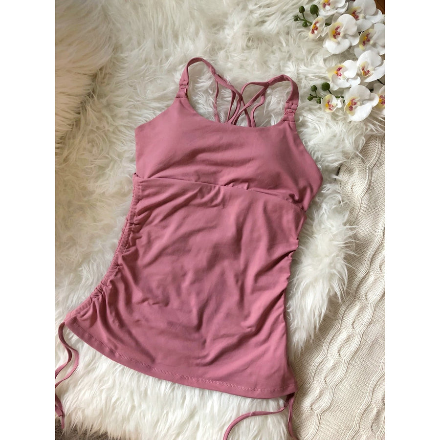 Camelia Maternity and Nursing Sports Tank Bra, clip down nursing tank, mauve, pink, strappy back, shirred sides