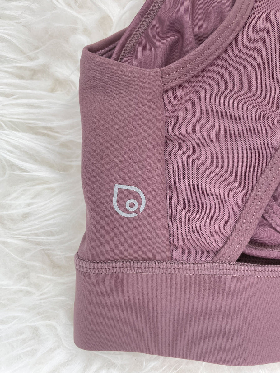 Capucine 2 nursing and hands free pumping nursing sports bra, high impact, high coverage, Smoky Plum - Sweat and Milk