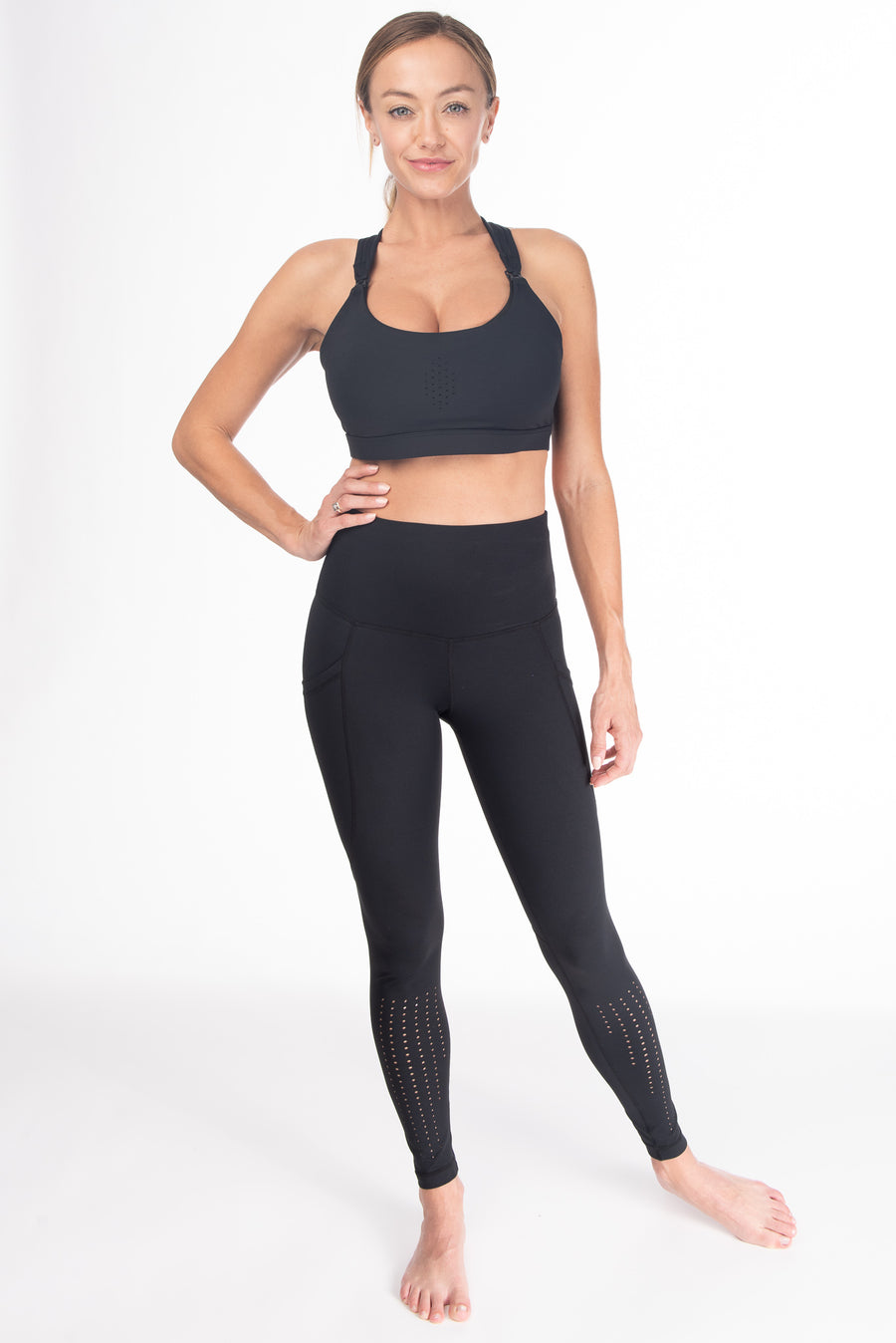 Chloe 3 Running Nursing Sports Bra, black, strappy back, supportive, stylish, mid high impact, mid high coverage