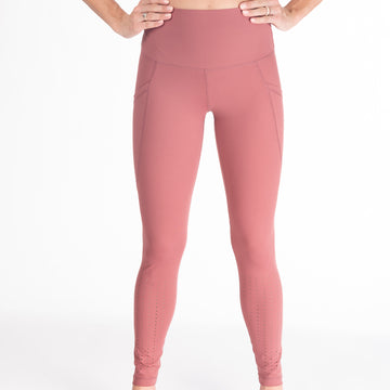 Laser Cut Tummy Control Postpartum Legging (Dusty Rose) - Sweat and Milk