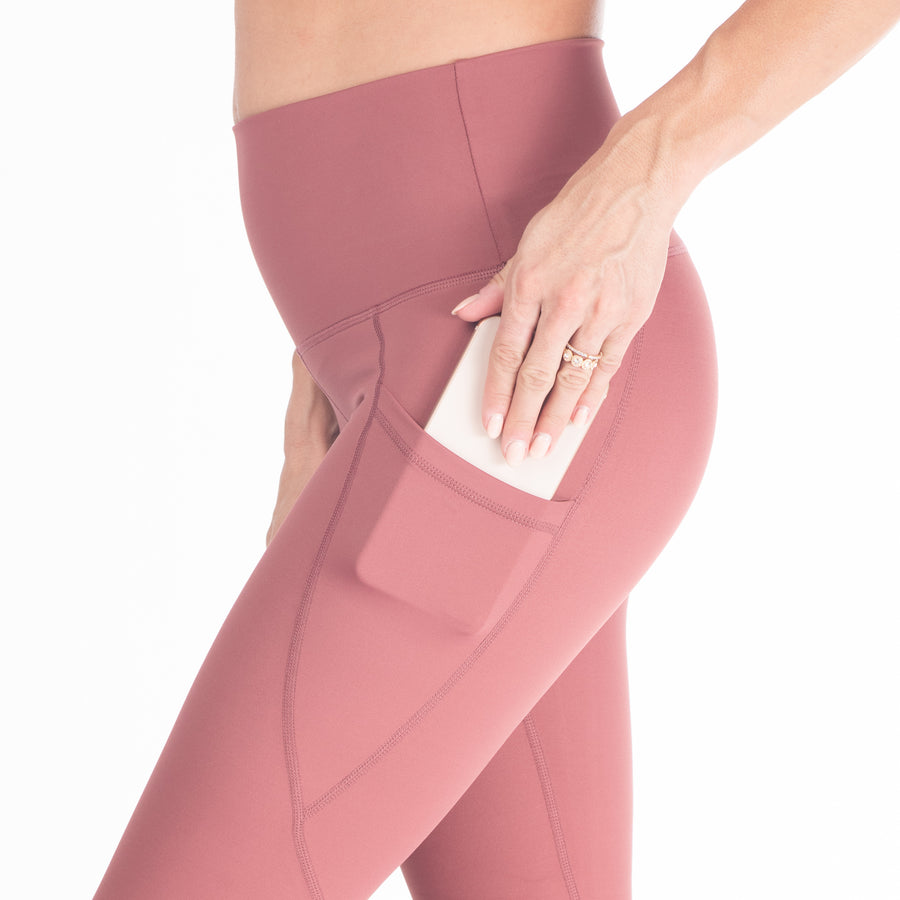 Postpartum Legging, mauve, pink, high waisted, tummy control, laser cut details on the front leg, pocket, full length, soft and stretchy