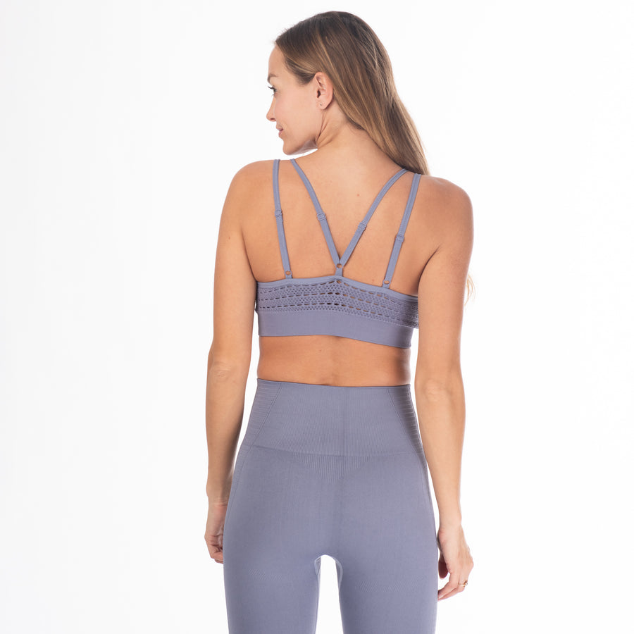 Malibu Seamless Nursing Sports Bra, clip down nursing bra, blue, adjustable strappy back, seamless, stylish, stretchy and comfy