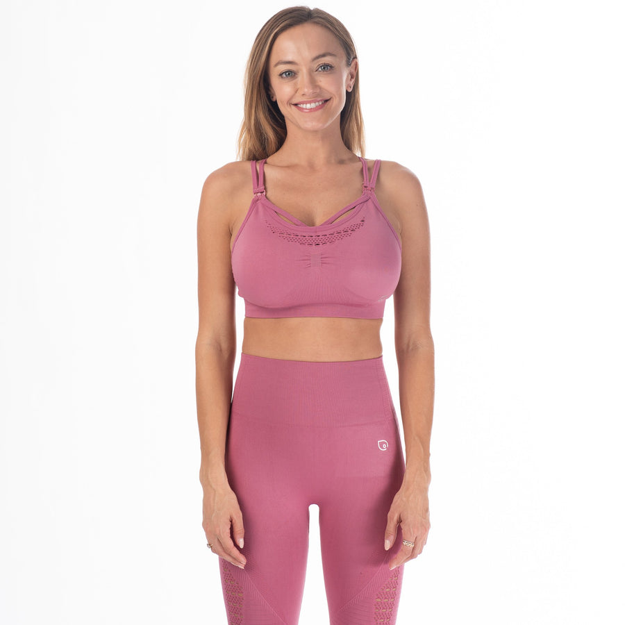 Malibu - Seamless Nursing Sports Bra (Wild Rose) - Sweat and Milk