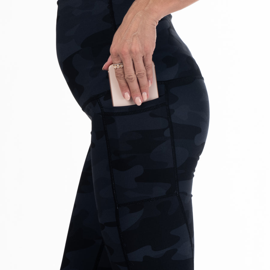 Venice Postpartum leggings, Extremely High Waisted, Tummy Control, camo, full length, pocket