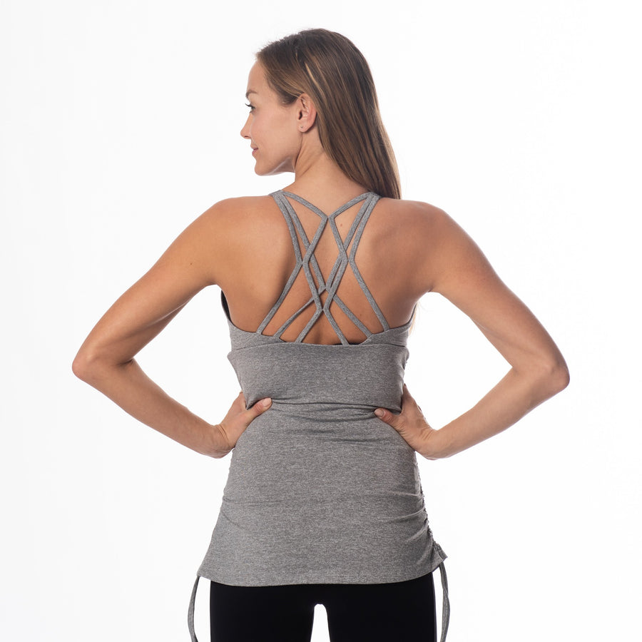 Camelia Maternity and Nursing Sports Tank Bra, clip down nursing tank, heather gray, strappy back, shirred sides