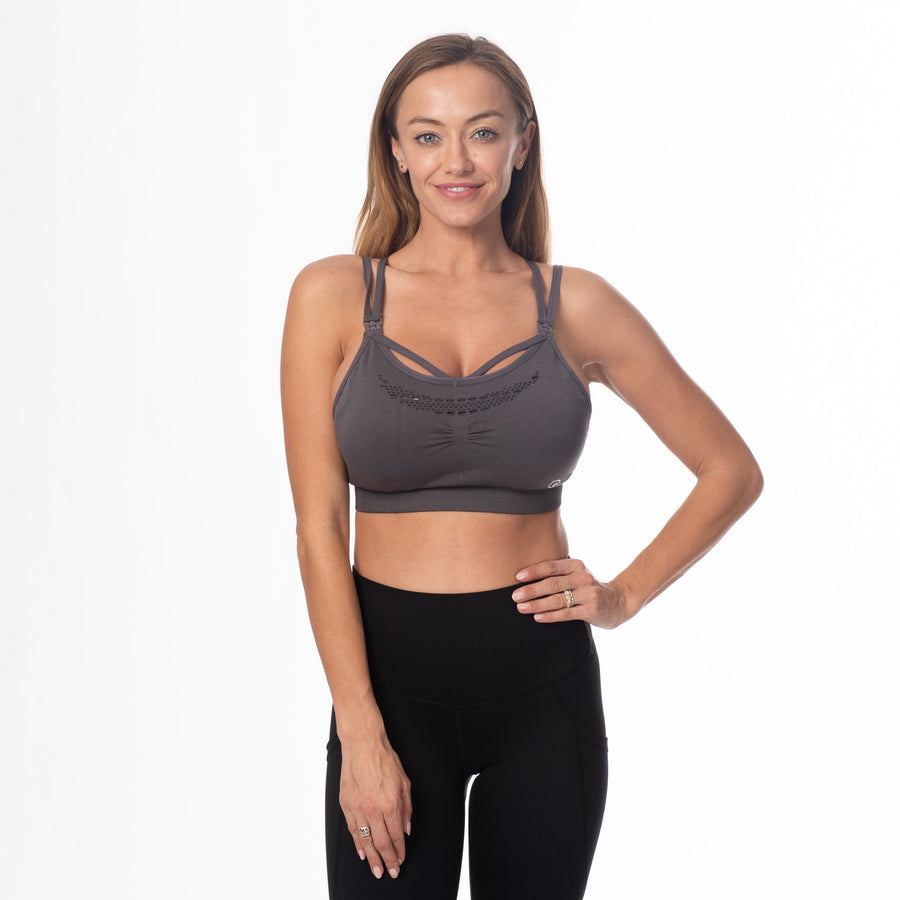 Malibu Seamless Nursing Sports Bra, clip down nursing bra, brown, adjustable strappy back, seamless, stylish, stretchy and comfy