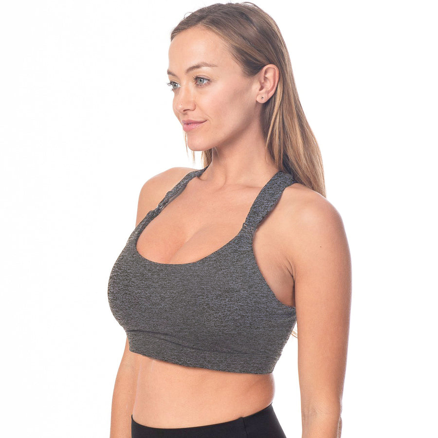 Chloe 3 Running Nursing Sports Bra, gray, strappy back, supportive, stylish, mid high impact, mid high coverage