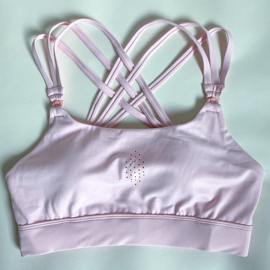 Chloe 3 Running Nursing Sports Bra, strappy back, high impact, stylish, blush