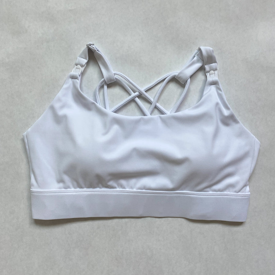 Nursing Sports Bra, strappy, white, Adjustable straps, Oceane 2 - Sweat and Milk LLC