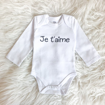 Baby onesie, French, Je t'aime, I love you - Sweat and Milk