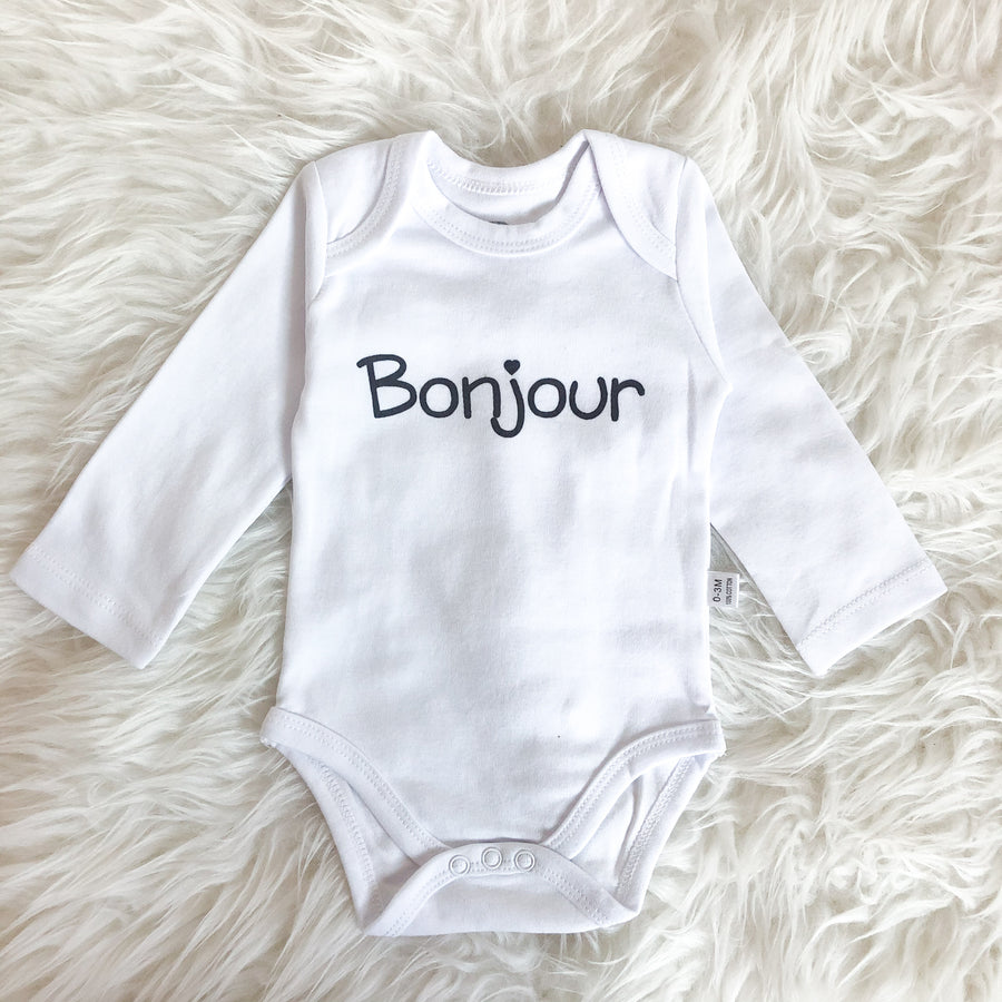 Baby onesie, French, bonjour, hello - Sweat and Milk