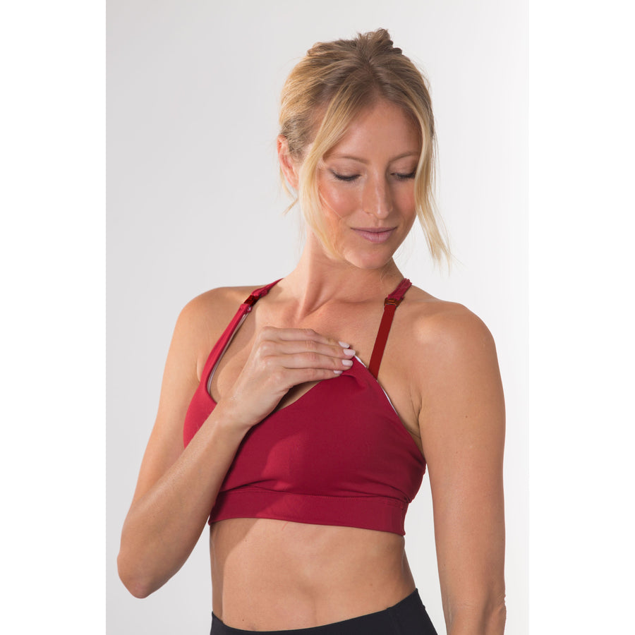 Océane 2, Nursing sports Bra, clip down nursing bra, merlot, burgundy, strappy back, stylish, adjustable back closure