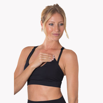 Nursing Sports Bra, strappy, adjustable straps, black- Sweat and Milk LLC