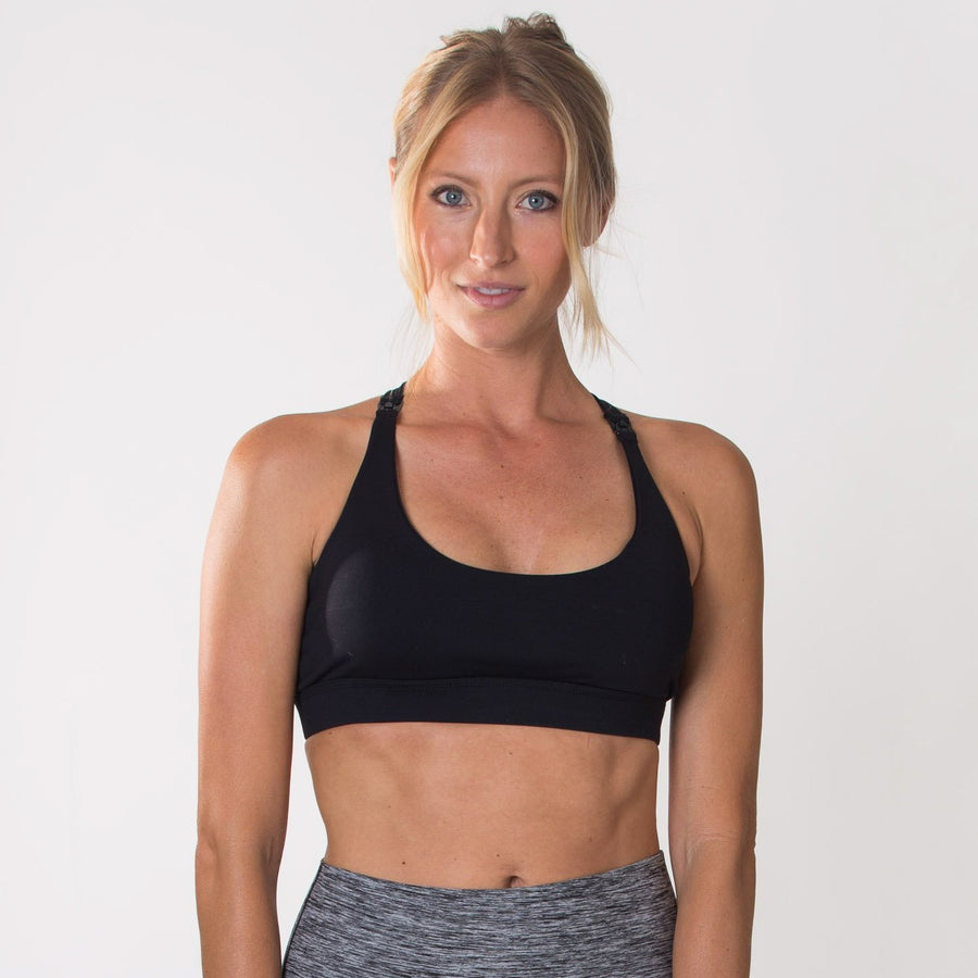 Océane 2 - Yoga Nursing Sports Bra, strappy nursing sports bra (Noir) - Sweat and Milk LLC