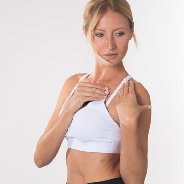 Océane 2 - Yoga Nursing Sports Bra, strappy nursing sports bra (white) - Sweat and Milk LLC
