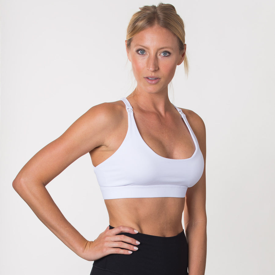 Nursing Sports Bra, strappy, white, Oceane 2 - Sweat and Milk LLC