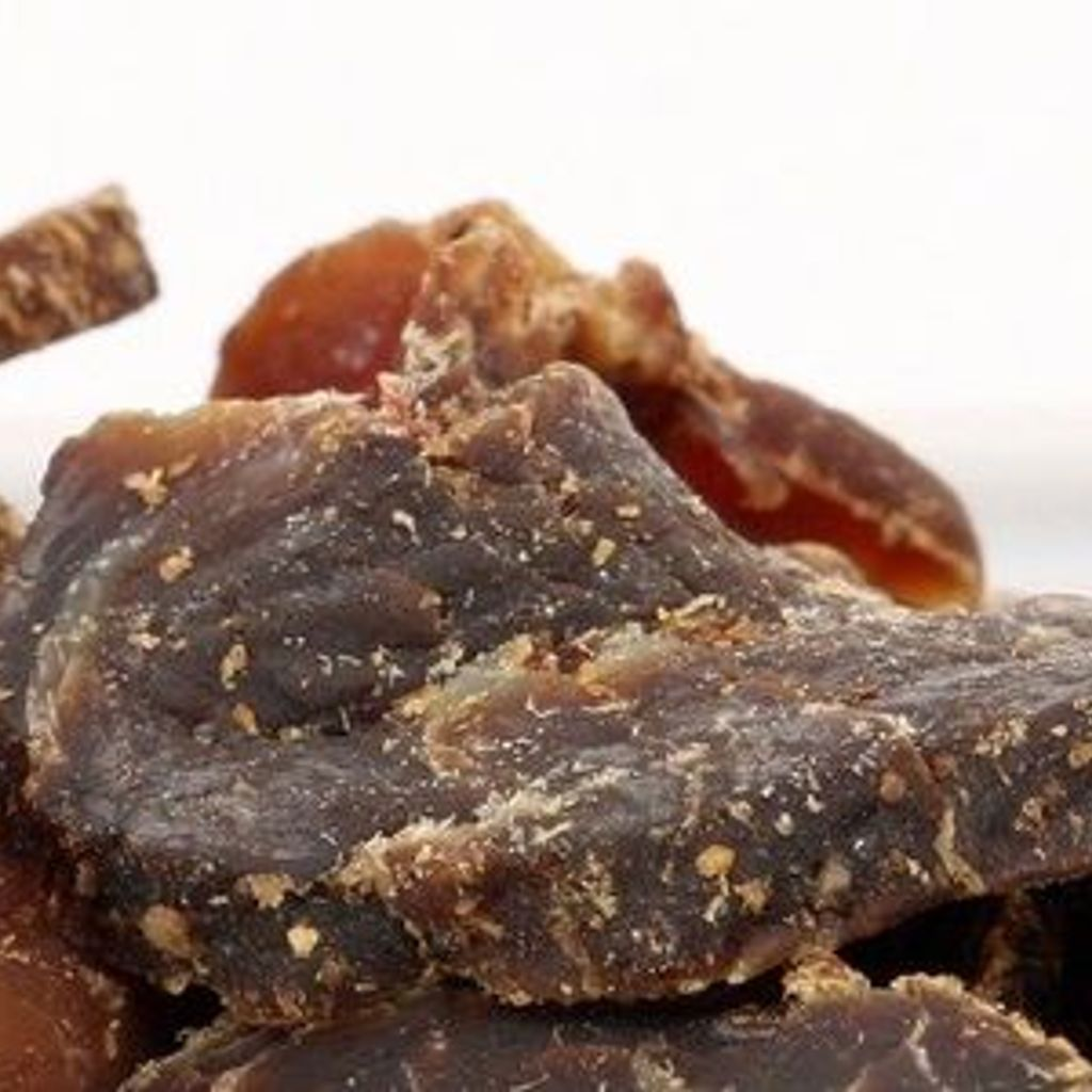 Closeup of beef jerky.