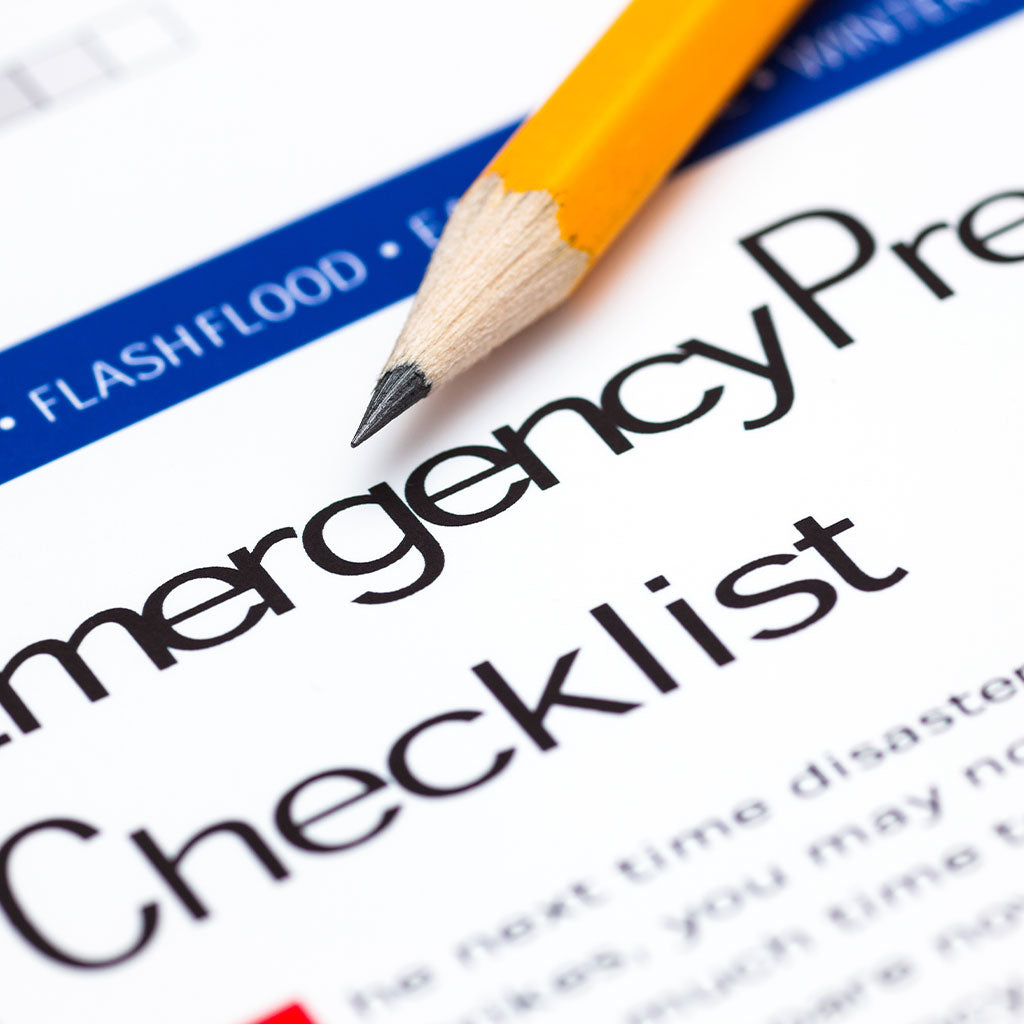 emergency checklist with pencil
