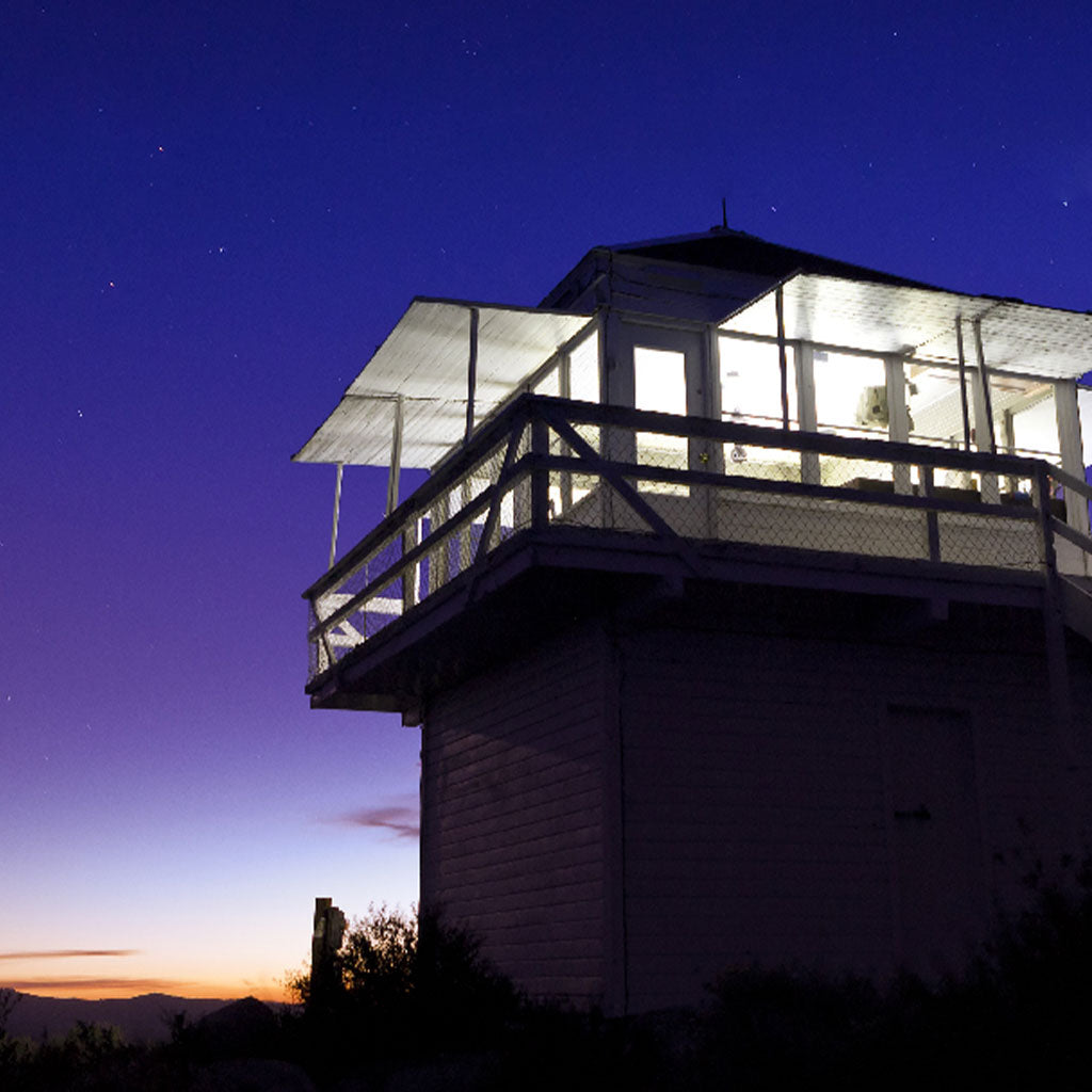 fire lookout tower at dusk