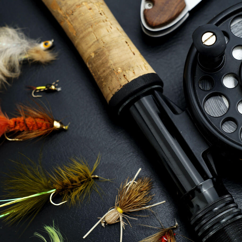 fly fishing rod and fishing lures