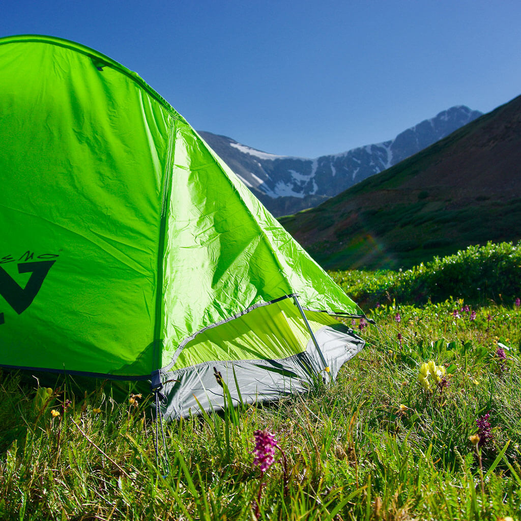 green dome tent with mountains in background