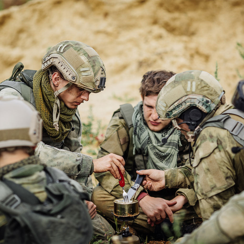 Military men eating military ration