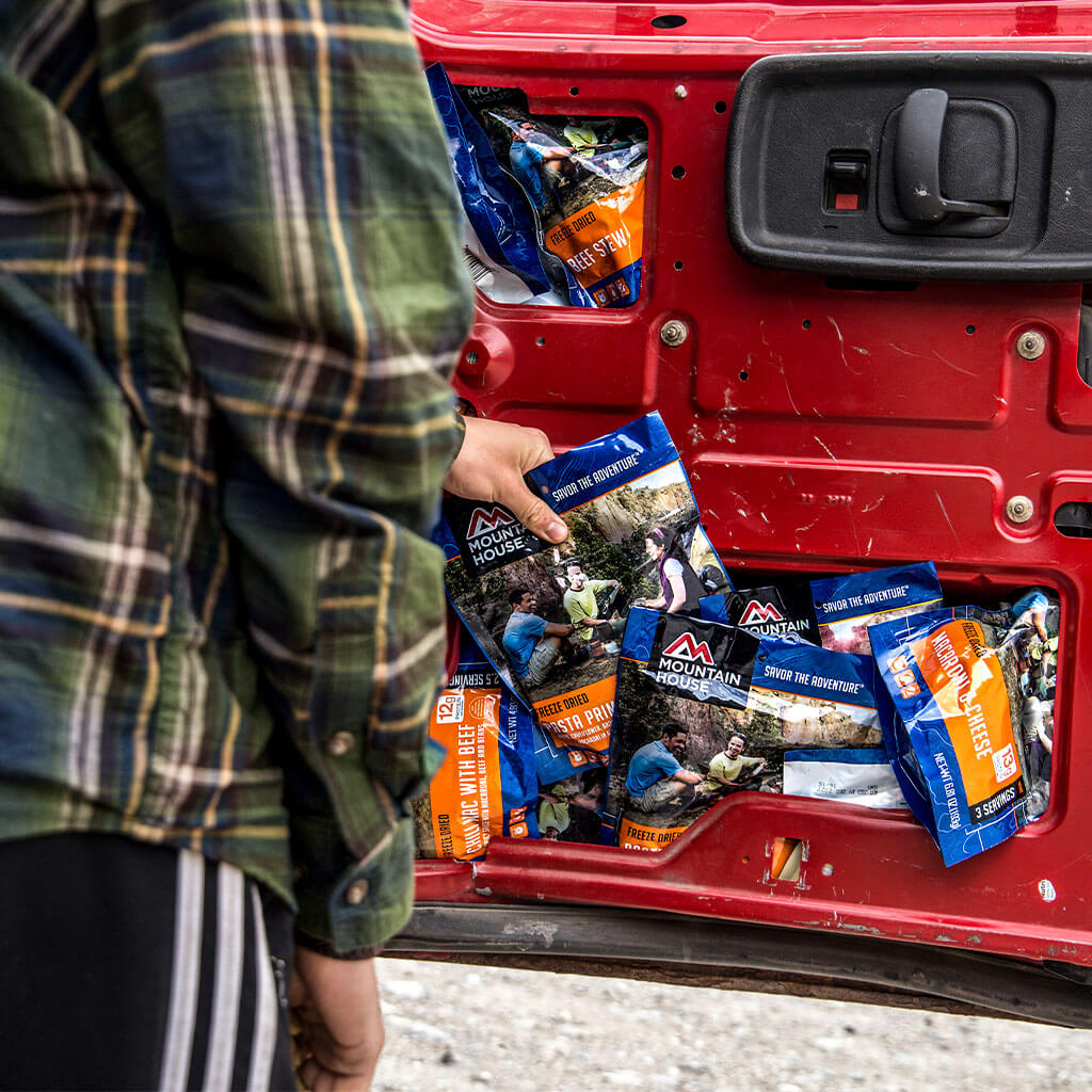 freeze dried mountain house food stuff in car door