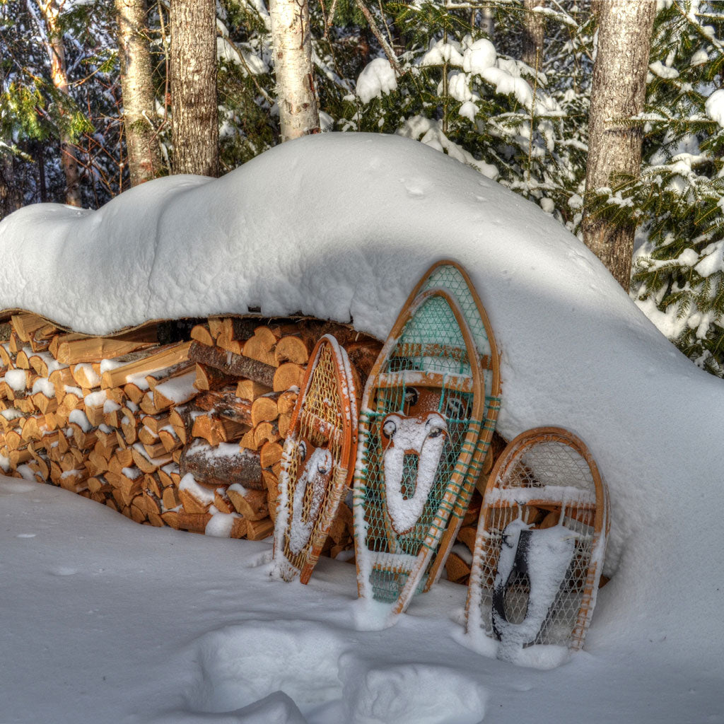 snowshoes against a stack of chopped wood