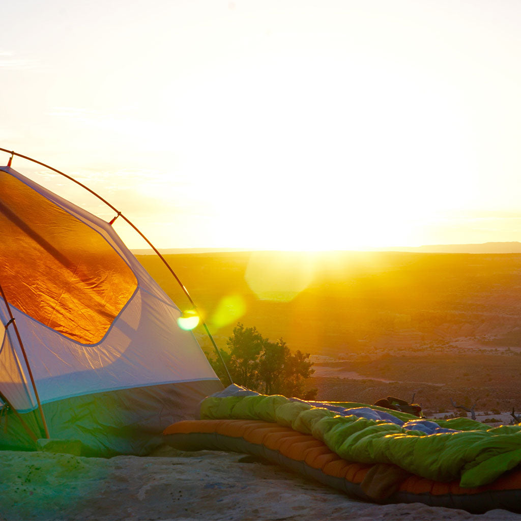 camping tent and sleeping bag